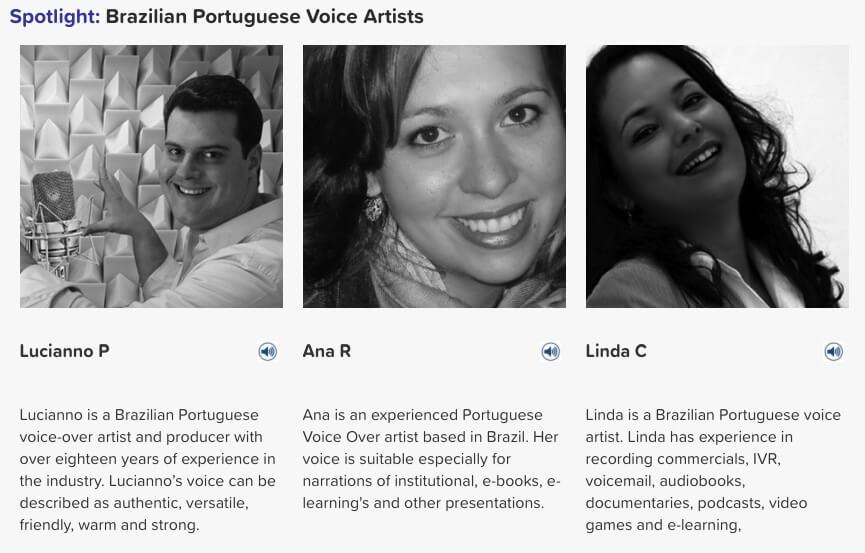 Brazilian Portuguese voice artists