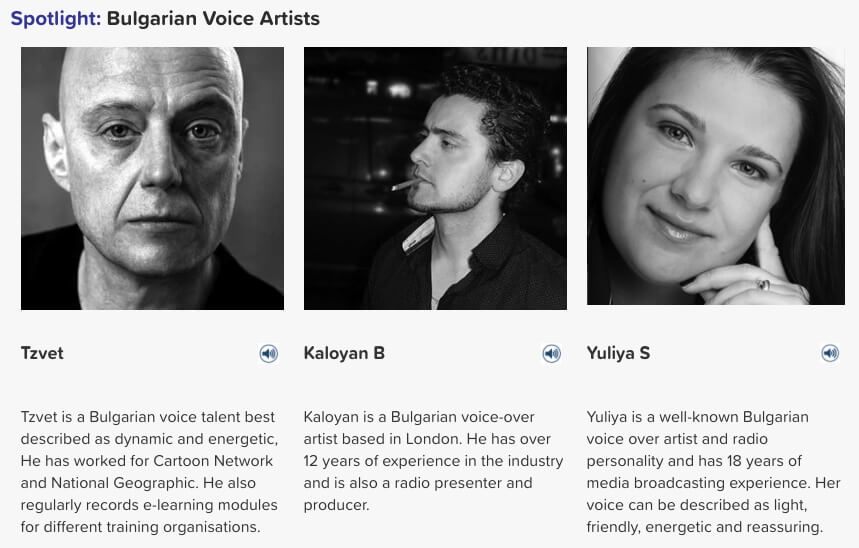 Bulgarian voice artists