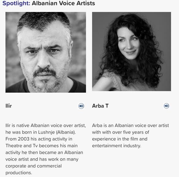 Albanian voice artists