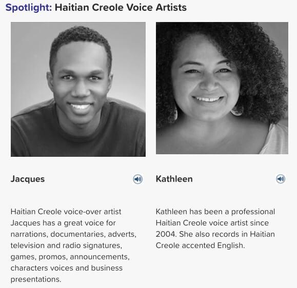 Haitian Creole voice artists