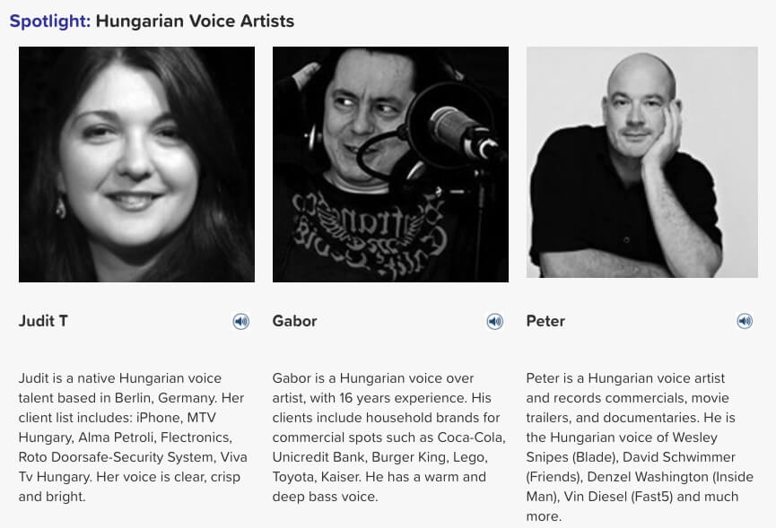 Hungarian voice artists