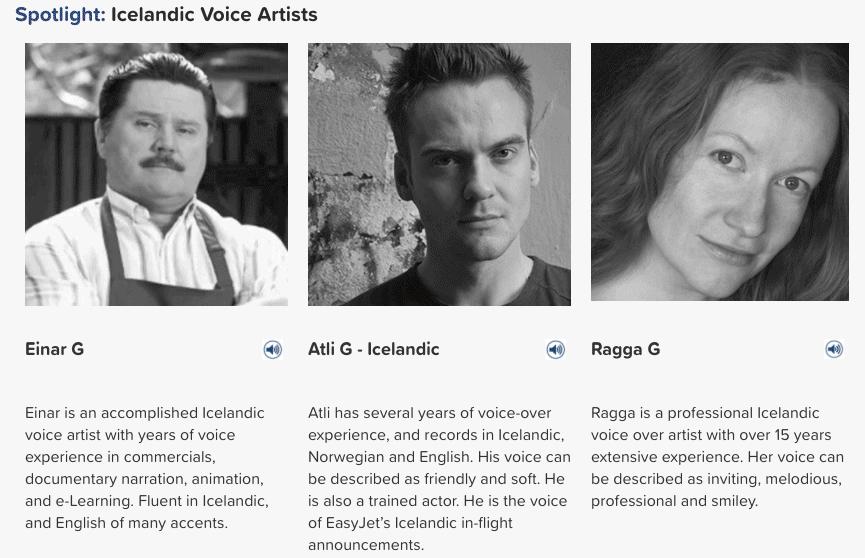 Icelandic voice artists