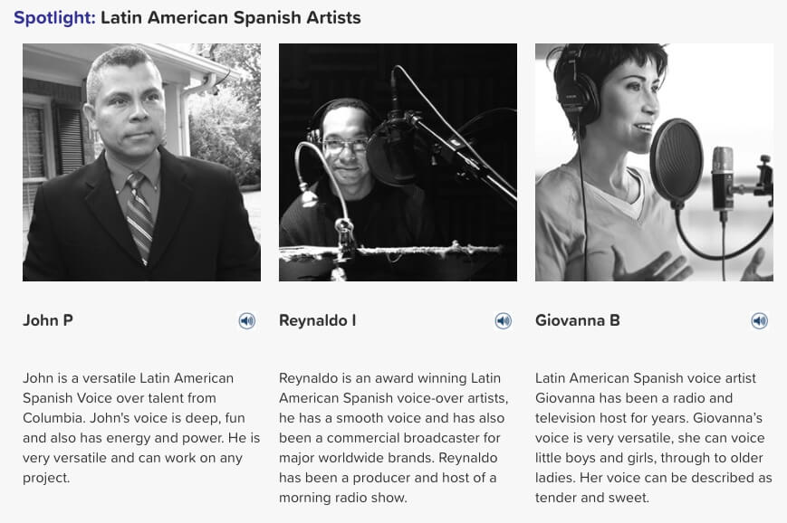 Latin American Spanish voice artists