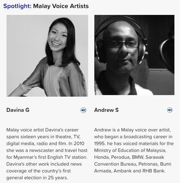 Malay voice artists