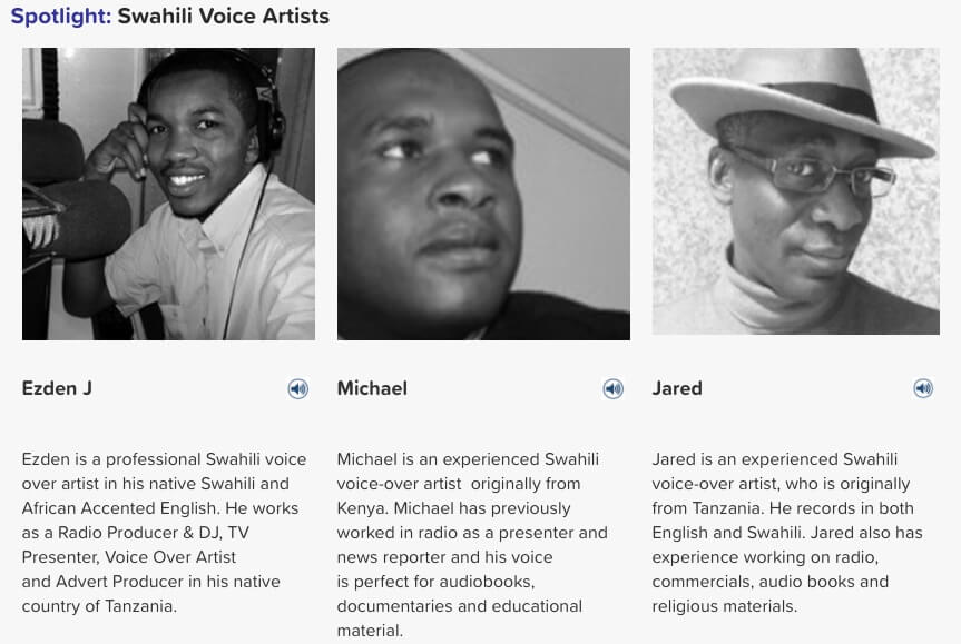 Swahili voice artists