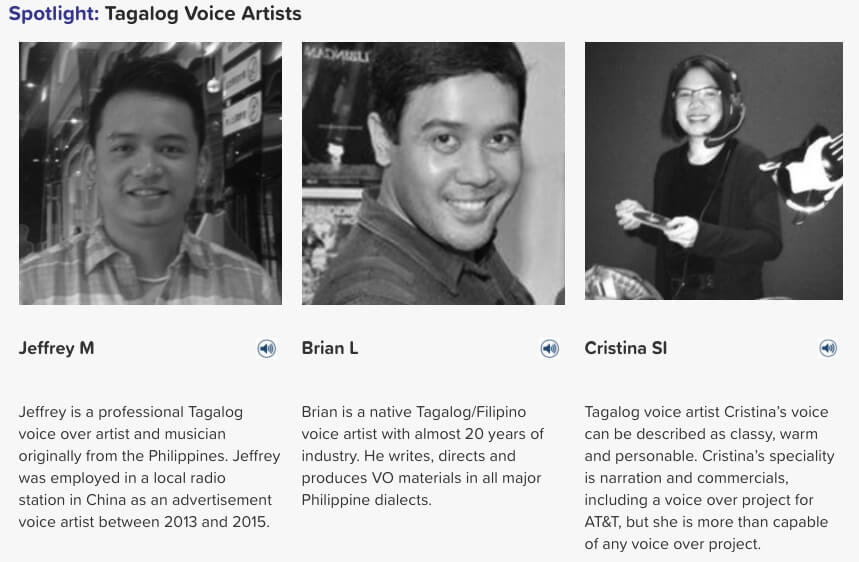 Tagalog voice artists