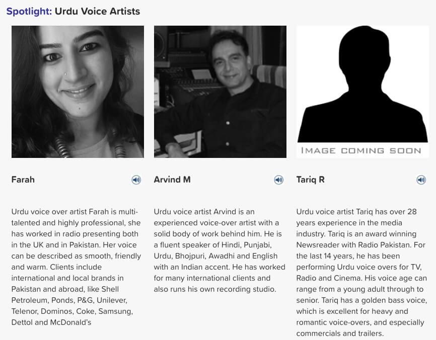 Urdu voice artists