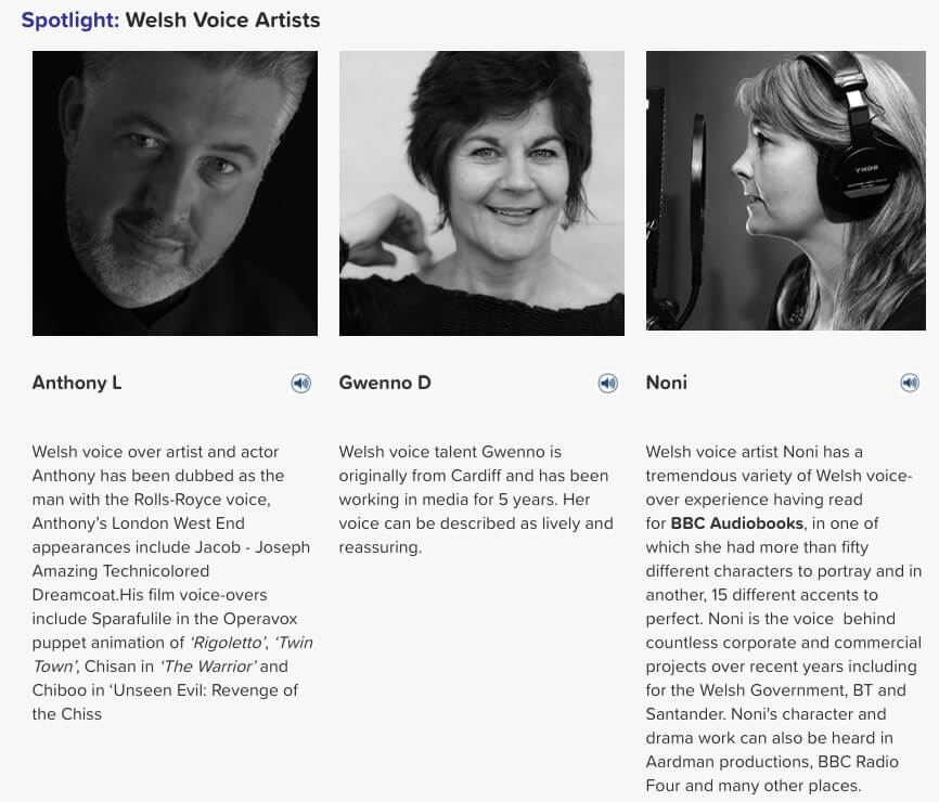 Welsh voice artists