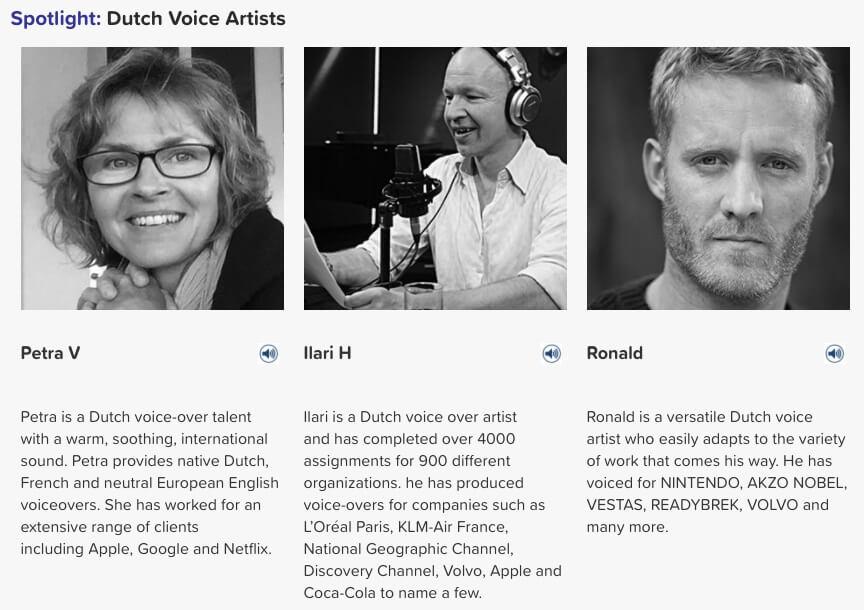dutch voice artists