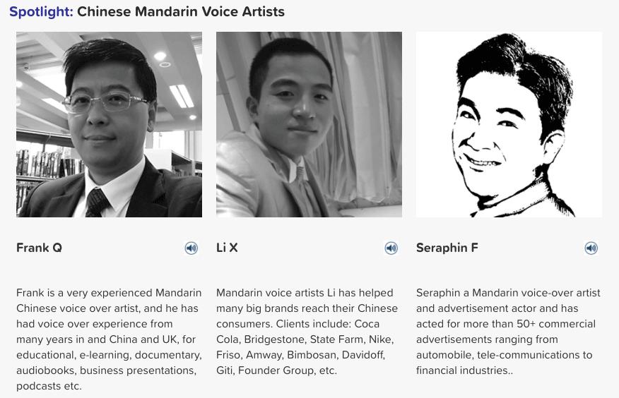 mandarin voice artists